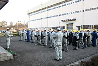 避難訓練の様子(福島工場)
